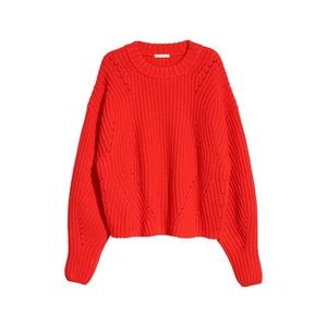 H&M red oversized knit sweater thick cotton loose
